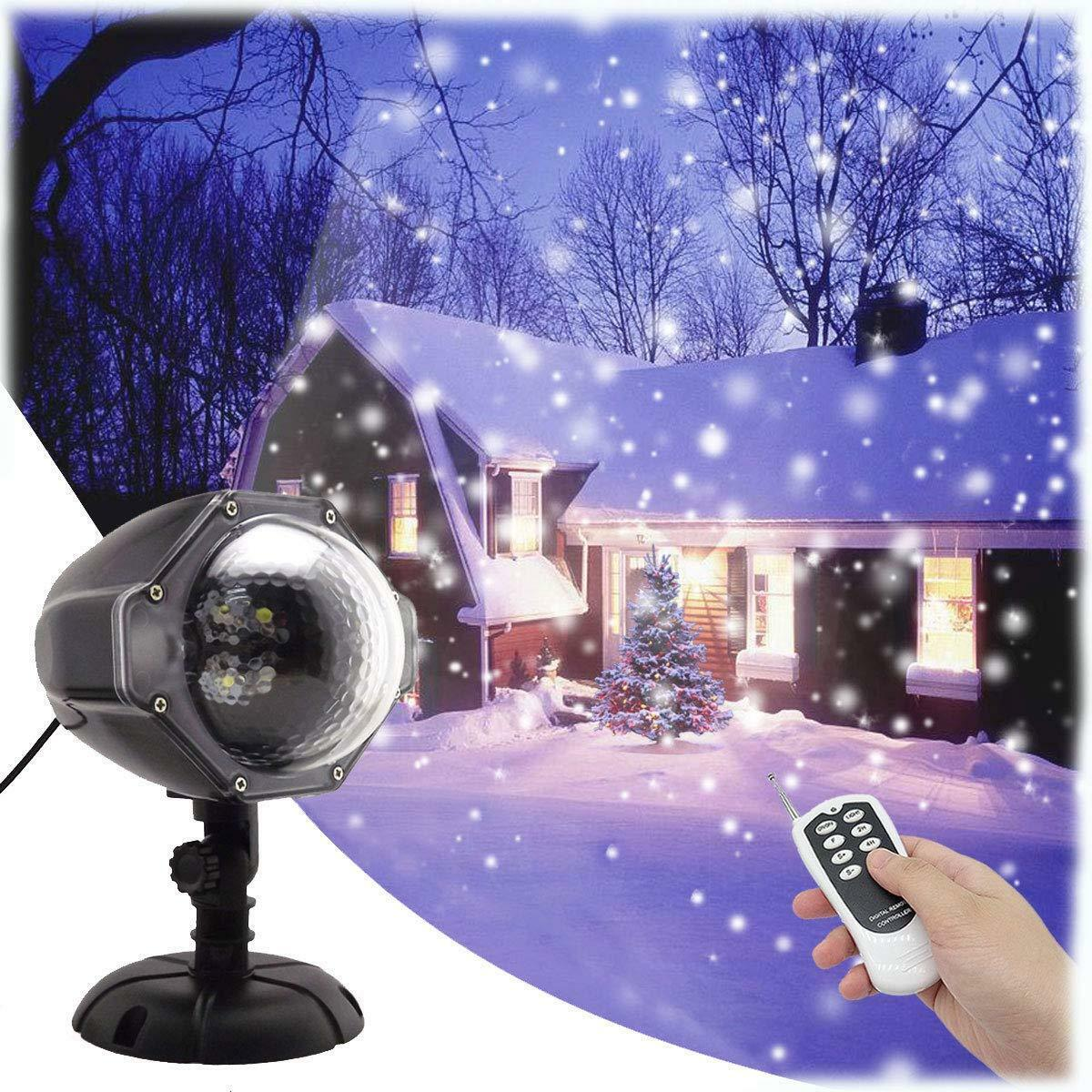 GESIMEI Proyector Luces Navidad LED Efecto Nieve Control Remoto y Temporizador