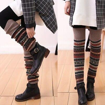 Multi-Color Women Lady Stocking Elastic Crochet Knit Winter Leg Warmer Socks