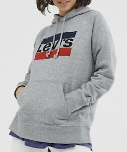 Levis-Damen-Grafik-Sport-Hoodie-in-Heather-Grey-Groesse-L