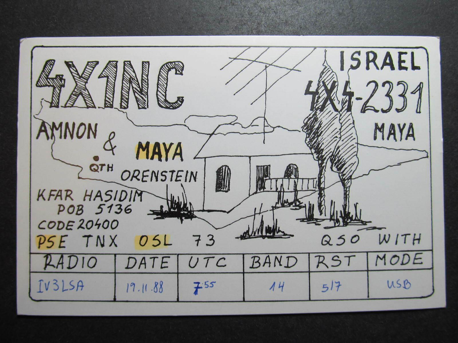 10073 Amateur Radio QSL Card KFAR HASIDIM ISRAEL