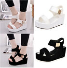 New Womens Platform Wedge Heel Summer Sandals Ankle Strap Peep Toe Shoes Size
