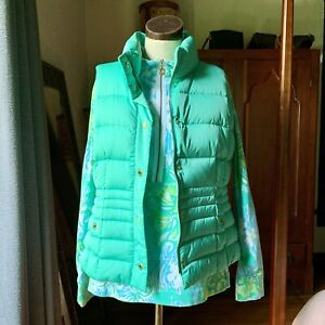 LILLY PULITZER SET Duck Down Puffer Vest Popover Green LAGOON WAVE RIDER M/L