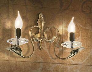 Applique classico di design foglia oro e cristallo coll bell