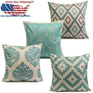 Image Is Loading Vintage Aqua Mint Green Home Decor Cotton Linen