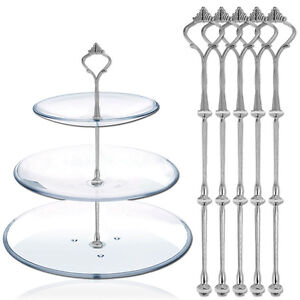 5-sets-Silver-3-Tiers-Plates-Cake-Stand-Fittings-Handle-Rod-Royal-Crown-Pattern