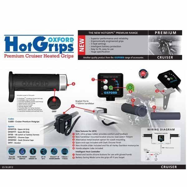 Oxford Heizgriffe f. Cruiser / Chopper elektronisches 5-Stufen System Hot-Grips