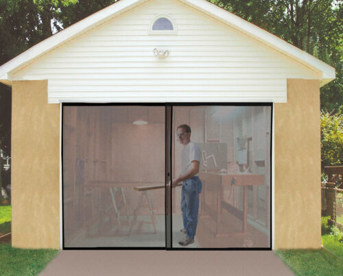 2 Of 5 Deluxe Double Garage Door Screen Black Magnetic Closure Mosquito Insect Weighted