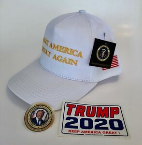 President-Donald-Trump-Hat-Make-America-Great-Again-Cap-White-amp-Gold-2-Decals