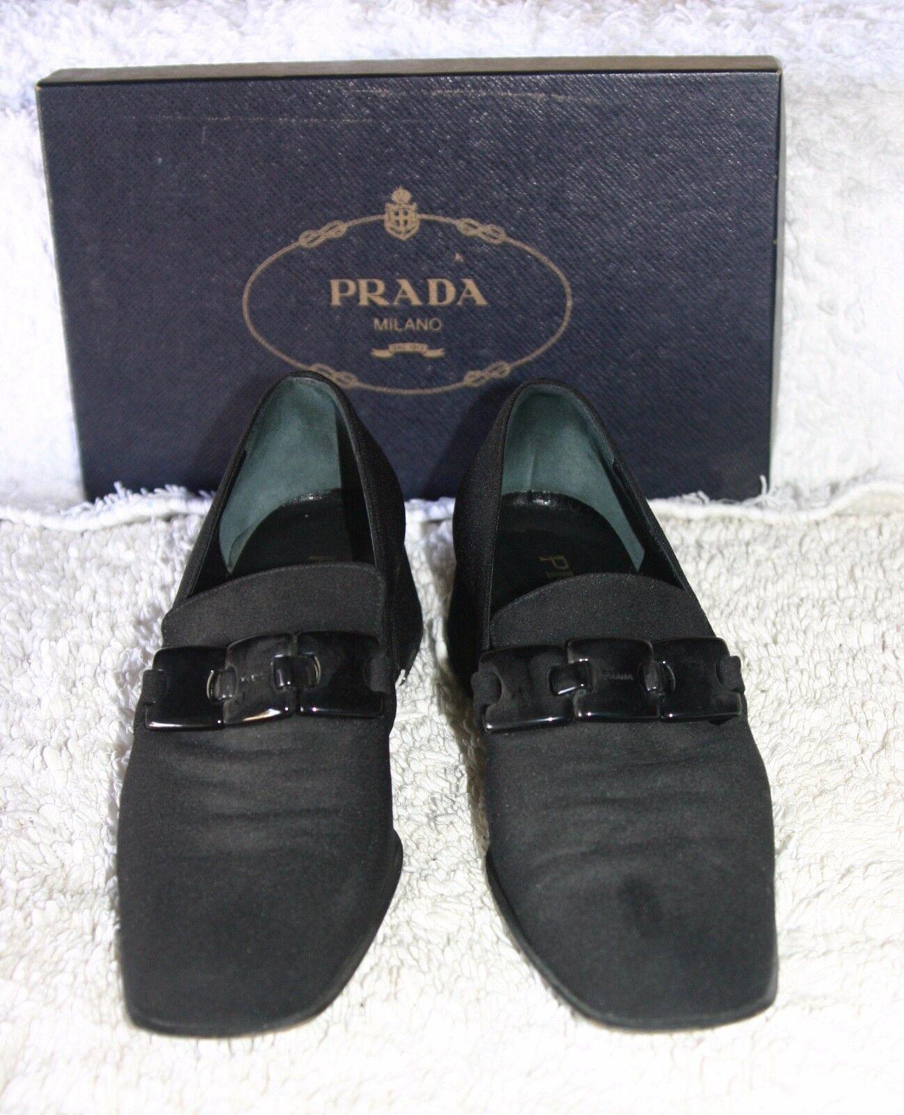 Prada Women's Black Canvas Loafers w  Linked Belt across front..Size 38.5 - 8 M