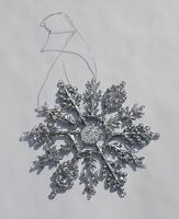 Silver 4 Glittered Plastic Snowflake Ornaments 10 Pieces