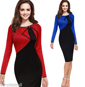 Elegant Women S Long Sleeve Work Business Cocktail Formal Pencil