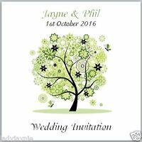 Pack of 10 Wedding Invites - Green Floral Tree - Personalised with Envelopes!