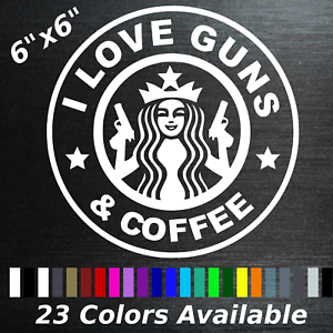 I love guns and coffee decal sticker hunting