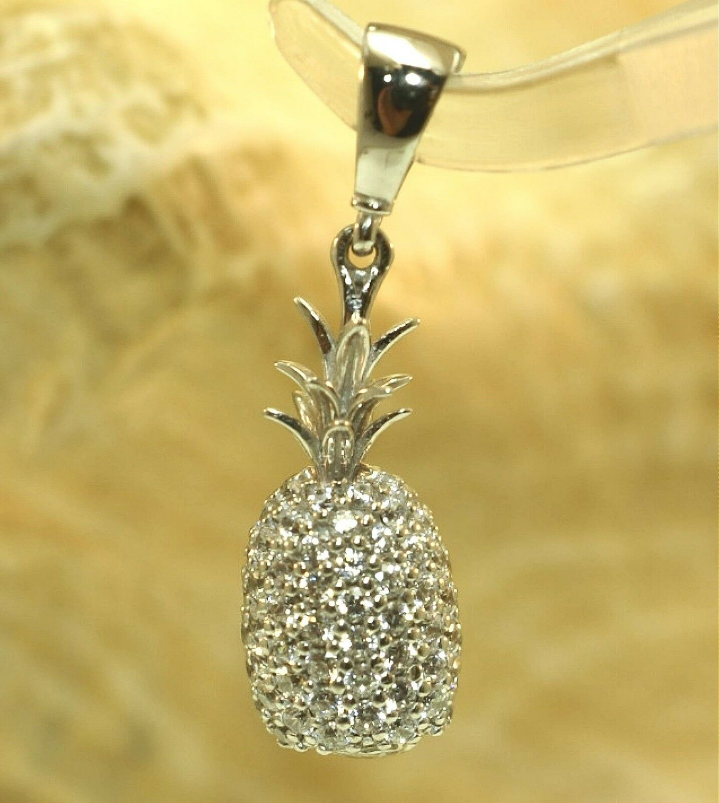 7.5MM PETITE SOLID 14K WHITE gold 3D WHOLE HAWAIIAN PINEAPPLE PAVE CZ PENDANT