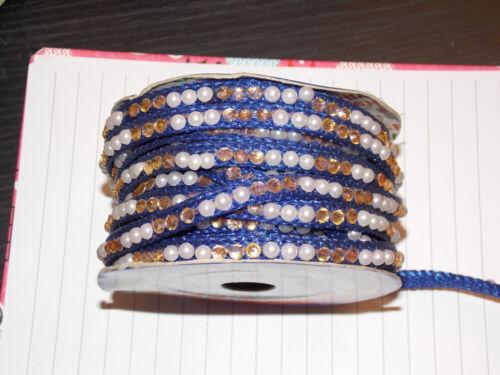 1m 8mm Cinta Azul Cristal Perla bordado de encaje y apliques Decoración de recorte