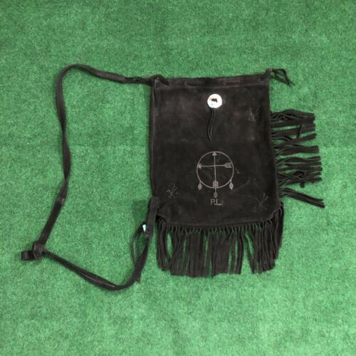 BLACK Suede BOHO HANDMADE fringe crossbody bag