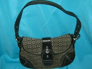 Image Is Loading Authentic Coach Soho Black Leather And Canvas Handbag