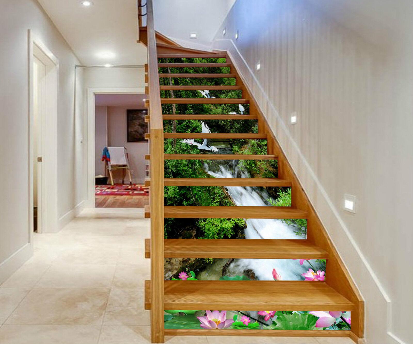 3D Lotus Wald 8153 Stair Risers Dekoration Fototapete Vinyl Aufkleber Tapete DE
