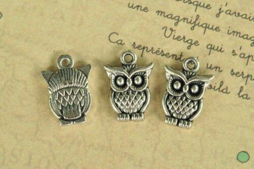 20pcs Antique Silver Owl Charm Pendant Tibetan Plated Punk Craft Steampunk Sale