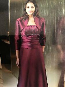 JADE by JASMINE MOB Mothers social occasion Long  dress w/bolero 10 plum NWT