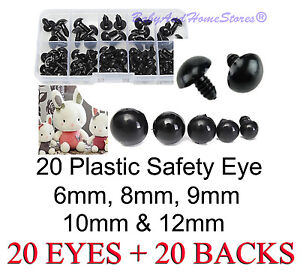 Safety-Eye-Teddy-Bear-Making-Supplies-6mm-8mm-9mm-10mm-OR-12mm-20-BLACK