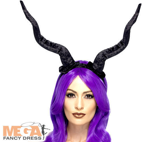 Black Flexible Demon Horns Adults Fancy Dress Halloween Creepy Costume Accessory