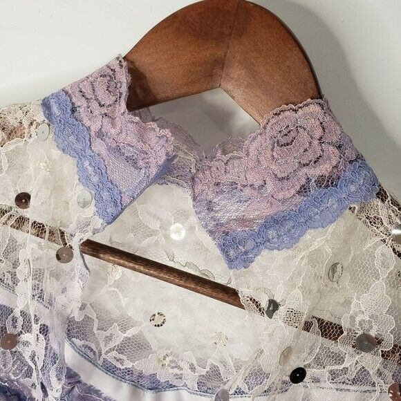 Handmade Lace Cover Fairycore White and Lilac Siz… - image 3