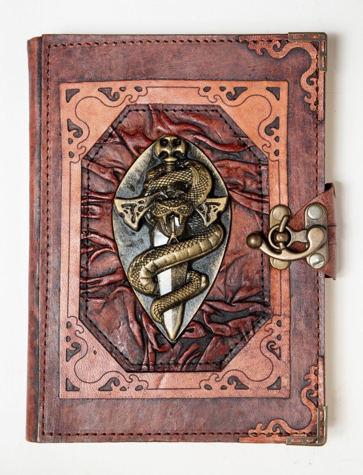 Handgefertigt Echtleder Nachfüllbar Journal Tagebuch Note Skizzenbuch Schwert | New Products