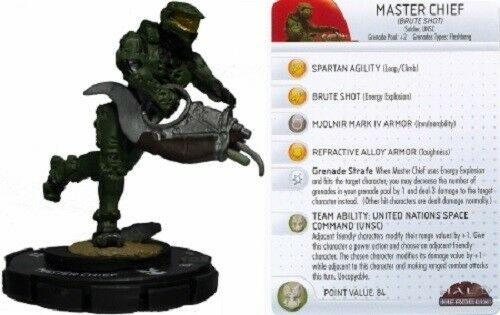 Heroclix 1x x1 Master Chief (Brute Shot) 035 Halo 10th Anniversary NM with card