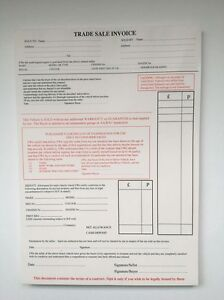 Used Car Vehicle Sales Trade Sale Invoice Pad Receipt Buying - Car invoice