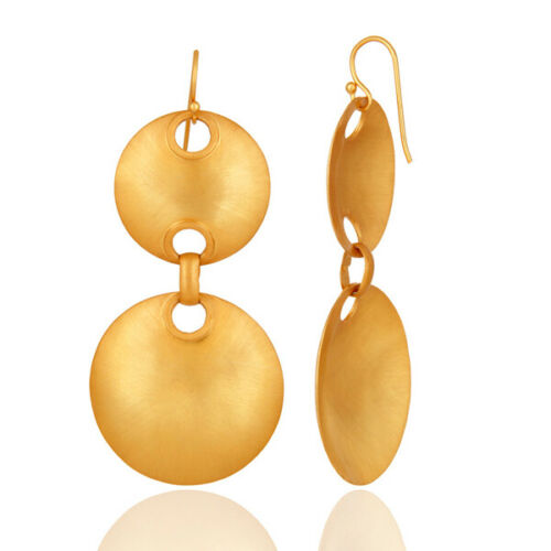 Details about  /Yellow Gold over 925 Silver Handmade Disc Design Dangle Earrings Jewelry