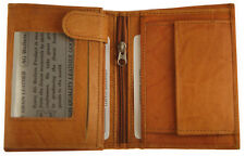 AG Wallets European Tan Cowhide Leather Trifold Hipster Wallet-3 ID,8 CC Slots