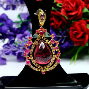 NATURAL-12-X-17-mm-PEAR-RED-RUBY-EMERALD-amp-AMETHYST-PENDANT-925-STERLING-SILVER