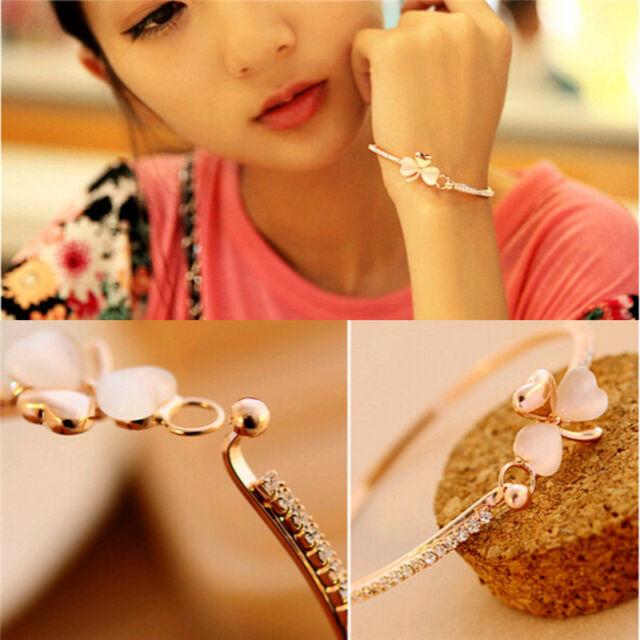 Elegant Heart Flower Women Gold Plated Rhinestone Cuff Bracelet Bangle Jewelry