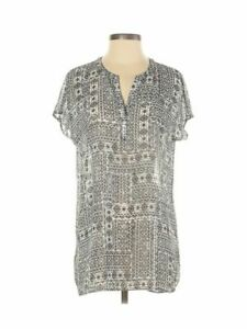 J.Jill Women's V-Neck Black Abstract Printed Tunic Top Shirt Size XS Extra Small