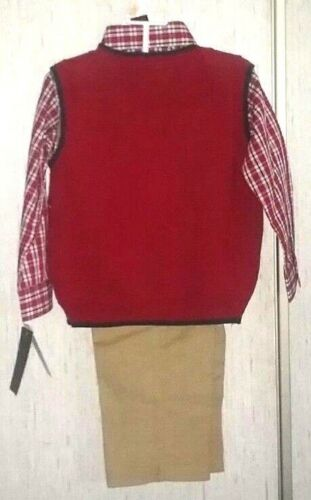 Dockers Infant and Toddler Boys 3 piece Red Reindeer Sweater Vest Set 3 Sizes