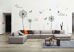 Wall-Stickers-Mural-Decal-Papier-Art-Decoration-Noir-Pissenlit-Live-Hope-citations