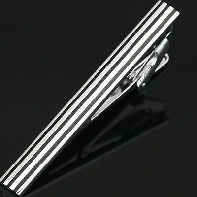 Mens Boys 4CM 5.5CM Silver Black Stainless Steel Standard Tie Clip Clasp Bars +