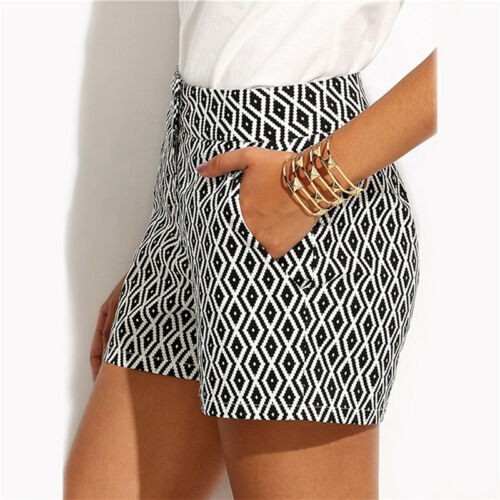 Women/'s Casual Summer Shorts Black and White Mid Waist Buttons Fly Pocket S