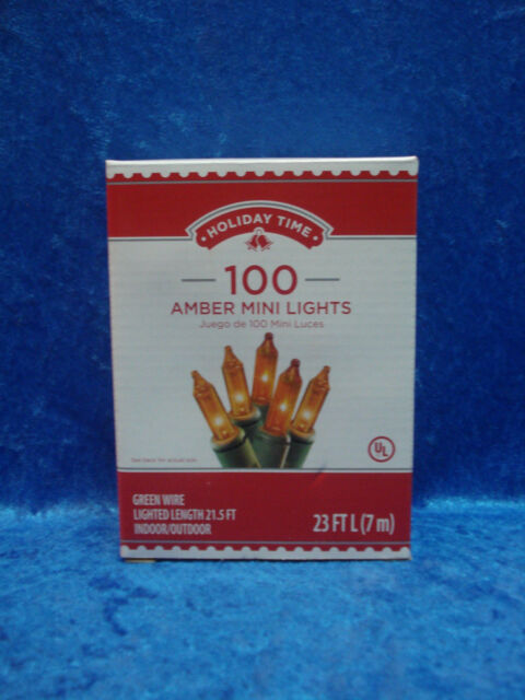 Holiday Time 100 Amber Mini Lights Green Wire Fall Thanksgiving Christmas