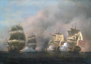 Maritime Marine Art Action off the Cape of Good Hope Scott Samuel 1757