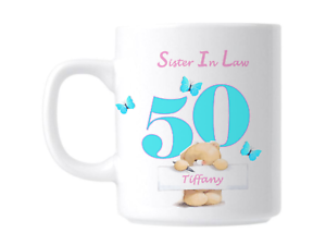 50th Birthday Sister In Law Personalised Gift Mug
