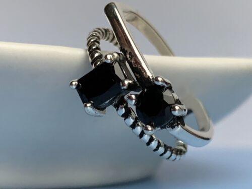 Cool alta calidad plata esterlina 925 Anillo Puntera abierta doble Pl Cristal Piedra