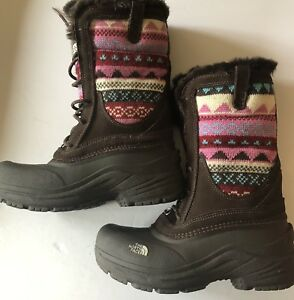 817c366bc Details about The North Face Girl Shellista Lace Novelty Boots Sz 4 Youth  Brown/ Pink