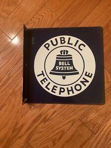 VINTAGE-Public-Telephone-Bell-System-Sign-Porcelain-Enamel