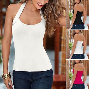 Damen-Neckholder-Tops-Tanktop-Rueckenfrei-Bluse-Traegertop-Weste-Shirts-M-L-XL