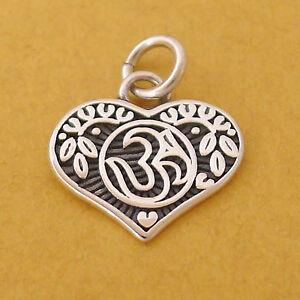 925-Sterling-Silver-Om-Aum-Yoga-Hidu-Sanskrit-Symbol-Leaf-Heart-Charm-Pendant