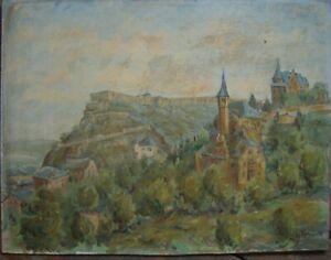 FESTUNG-BURG-EHRENBREITSTEIN-HEINZ-HARTMANN-1948-OLGEMALDE-SIGNIERT-ANTIK-OL