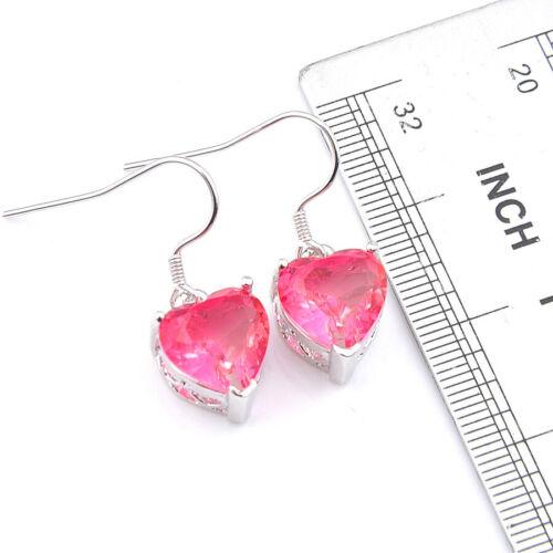 Cadeau de Mariage Rose Bi Color Tourmaline gemstone Silver Dangle Coeur Boucles d/'oreilles