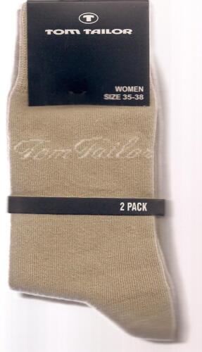 BAUMWOLLMIX   2 Paar weiche Socken sand 35-38  *TOM TAILOR*